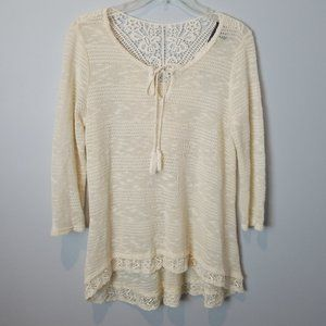 Cream Tie Front Blouse Lace Trim 3/4 sleeves Small